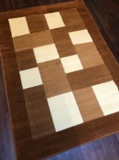 NEW MODERN BLOCK DESIGN RUGS LIGHT BROWN 115X165CM 6FTX4FT LUXURY QUALITY MATS